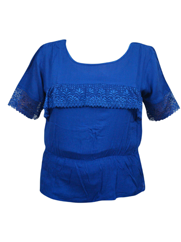 Bohemian blouse, Gypsy Chic Women's Blue Top, handmade Lace top,  Short Sleeves Rayon Boho Blouse M