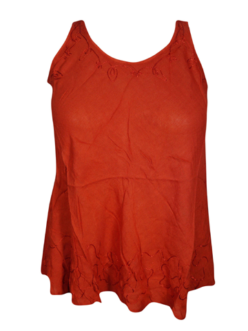 Womens Sexy Red Tunic Top Sleeveless Round Neck Bohemian Fashion Blouse