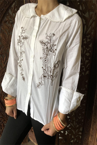 Womens 70s Retro Shirt, White Embroidered Brown Blouse Casual Handmade Bohemian Summer Cotton Tops M