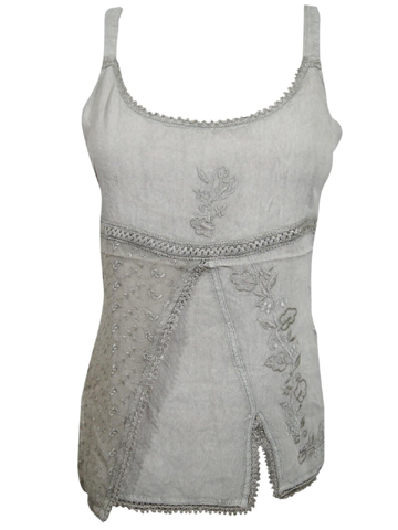 Women's Strap Top, Gray Boho Stylish Top, Bohemian Chic Comfy Summer Strappy Tie Back Tops M