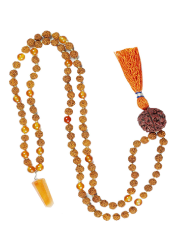 Zen Chakra Jewelry Mala Beads Healing Reiki Carnelian Pendants with Rudraksha Necklace