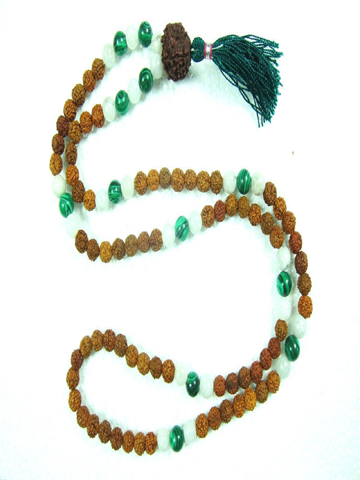Gift for Yoga-Buddhist Green Jade Rudraksha, Moon Stone Healing Meditation Mala, Bring Fortune