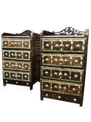 2 Rustic Vintage Low Side tables, Accent Tables, SOHO Carved Drawers CHEST Boho Indi BRASS Stars Hand Carved Pair