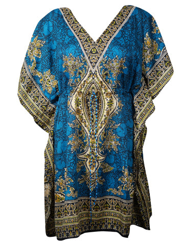 Womens Caftan Dress, Loose Beach dress, BLUE Printed Dresses, Cruise Caftan, Summer Kaftan 3XL