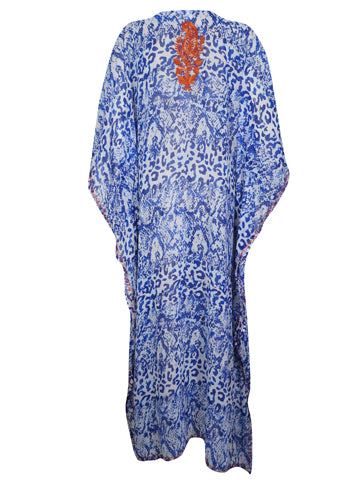 Womens Kaftan Maxi Dress, Blue White Printed Summer Fashion Dress, Georgette Embroidered Resort Wear Dresses ONESIZE