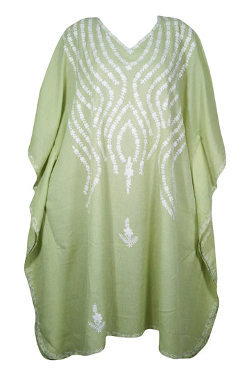 Womens Kaftan Dress Green Embroidered Cotton Caftan Housedress Fall Fashion One Size