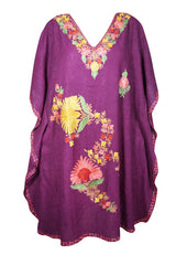 Womens Kaftan Dress Purple Embroidered Cotton Housedress Summer Beach Cover Up Dresses One Size L-2XL
