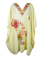 Womans Midi Caftan Housedress Light Yellow Floral Embroidered Kaftan Dresses One Size L-2X