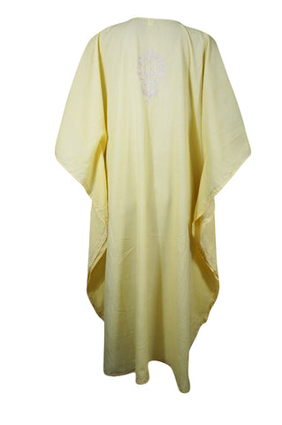 Women Caftan Dress Light Yellow Embellished Resort Wear Short Kaftan One Size L-4XL