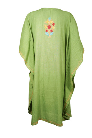 Womens Kaftan Dress, Embroidered Floral Beach Cover Up, Mid Calf Green Caftan, Summer Loose Kaftan Dress, Resort Wear M-2XL