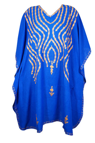 Womens Caftan Dress, Blue Embroidered Midi Caftans Dress Summer Loose Comfy, Housedress, Cotton Caftan, Resort Wear, Gift For Mom L-4X
