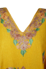 Womens Sunflower Yellow Embellished Floral Short Caftan Lounger Cover Up BOHO DRESS Tunic Dress One Size L-3XL