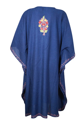 Women's Floral Short Caftan Navy Blue Embellished Lounger Cover Up Kaftan Tunic Dress One Size L-4XL