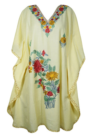 Womens Kaftan Dress, Embroidered Floral Beach Cover Up, Mid Calf Light Yellow Caftan, Summer Loose Kaftan Dress, Resort Wear M-3XL
