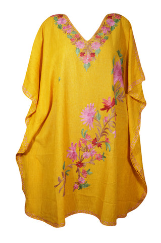 Womens Sunflower Yellow Embellished Floral Short Caftan Lounger Cover Up BOHO DRESS Tunic Dress One Size L-2XL