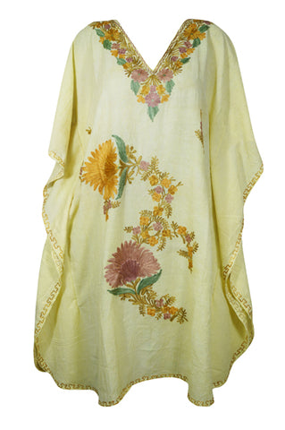 Womens Kaftan Dress, Embroidered Floral Beach Cover Up, Mid Calf Light Yellow Caftan, Summer Loose Kaftan Dress, Resort Wear M-2XL