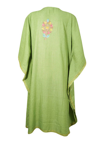 Womens Kaftan Dress, Embroidered Floral Beach Cover Up, Mid Calf Light Green Caftan, Summer Loose Kaftan Dress, Resort Wear L-3XL