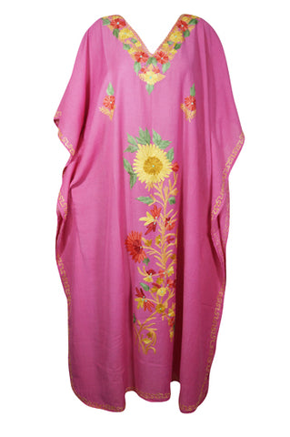 Womens Kaftan Maxi Dress, Pink Embellished Kimono Caftan, Cover up Kaftan, Lounger, Resort Wear Plus Size Kaftan Dresses One size L-3X