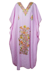 Womens Maxi Caftan Dress, Bohemian Summer Loose Maternity Dress, Sherbet Pink Floral Embellished Long dress, One Size L-3XL