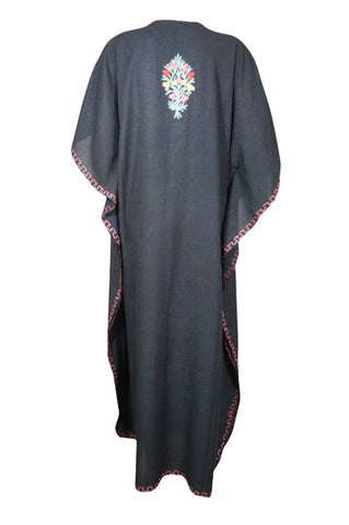 Womens Kaftan Maxi Dress, Black Housedress, Beach Cover Up, Lounger, Resort Wear Plus Size Kaftan Dresses, One Size L-3XL