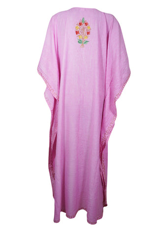 Womens Caftan Dress, Handmade Pink Floral Embroidered Kimono Dress Summer Cover Up Abaya Loose Stylish Maxi Kafan Dresses One size ,L-3XL