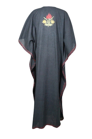 Womens Caftan Dress, Handmade Black Floral Embroidered Kimono Dress Summer Cover Up Abaya Loose Stylish Maxi Kafan Dresses One size ,L-3XL