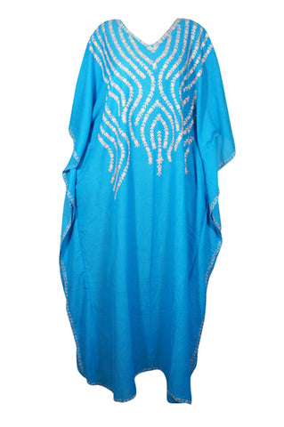Womens Caftan Maxi dress, Hostess Housedress, Embellished Kaftan dress, Cotton Blue Lounger, Resort Wear L-4XL