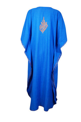 Womens Kaftan Maxi Dresses, Floral Embellished Cotton Caftan, Long Resort Wear, Aqua Blue House Dresses, L-3XL,One size