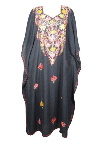 Womens Maxi Caftan Dress, Embellished Black Floral Caftan dress, Bohemian Cotton Dress, Beach Cover Up Long Summer Dress One size L-3XL