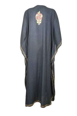 Womens Kaftan Maxi Dresses, Black Floral Embellished Caftan Lounger, Long Resort Wear, Nightwear, Housedresses One size L-4XL