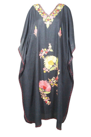 Womens Kaftan Maxidress, Mid Night Black Housedress Embroidered Caftan, Loose Flowy Dressy Caftan One Size L-3XL