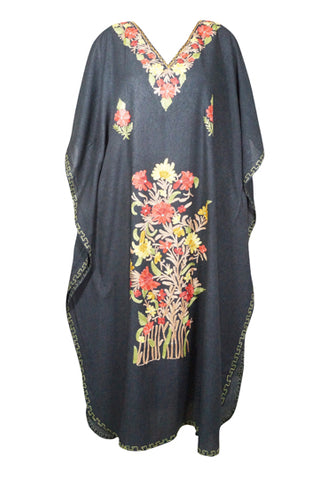 Womens Caftan Maxi dress, Hostess Housedress, Embellished Kaftan dress, Cotton Beige Lounger, Resort Wear 3XL