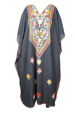 Womens Kaftan Maxi Dress, Lounger Beach Dress, Bohemian Black Embroidery Housedress Caftan 3X