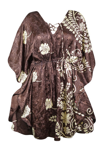 Women Kaftan Dresses, Recycled Sari Light Chocolate Brown Short Caftan, Beach Cover Up Dress, Holiday Gift For Mom One Size L-2XL