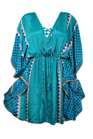 Womens Short Caftan Dresses, Teal Blue Ethical Boho Tunic, Beach Coverup Dress, Printed House Dress, Kaftan Resort Dresses L-2XL
