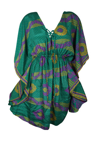 Womens Recycle Sari Tunic Kaftan, Green Polka Beach Caftan, Boho Summer Handmade Patio Dress L-2XL