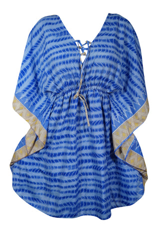 Women's Caftan Tunic Dress, Resort Wear Kaftan, Gift For Mom, Blue Printed Beach Cover Up, Beach Dresses L-2XL