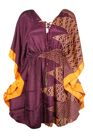 Womens Beach Caftan Dresses, Boho Coverup Dress, Recycle Sari Wine Orange Print Tunic Dress, Kaftan Resort Wear L-2XL