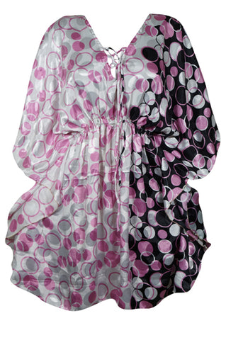Womens Summer Kaftan, Pink Black Printed Tunic, Maternity Dress, Beach Coverup, Printed Caftan Dress, Resort Wear L-2XL