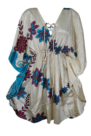 Short Sexy Kaftan Kimono Resort Wear, Beige Blue Short Dress, Resort Wear, Cover Up, Summer Dress, Beach Cover up, Cover up Caftan L-2XL