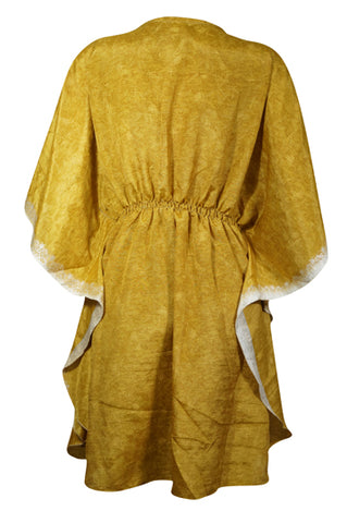 Womens Short Kaftan Dress, Yellow Kimono Sleeves Beach Cover Up Sleepwear Loose Evening Dresses L-2XL