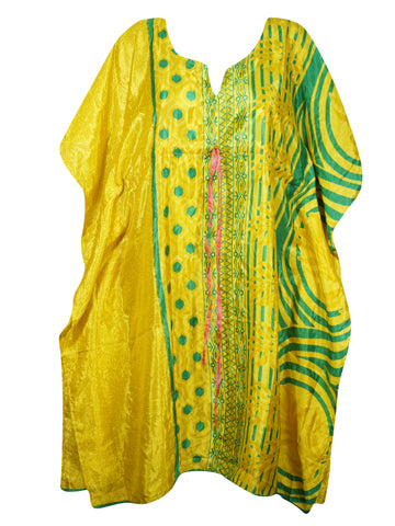 Women Tunic Kaftan Dresses, Beach Cover Up, Caftan Dress, Yellow Green Printed Housedress Caftan Dresses L-3XL One Size