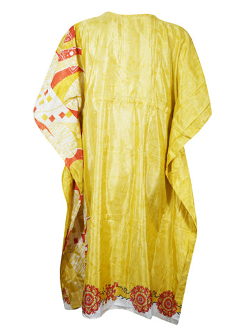 Women's Caftan Tunic Dress, Ethical Boho Mid Calf Yellow Kaftan, Gift For Mom, Printed Beach Cover Up, Resort Dress, Kaftans, L-3XL One Size