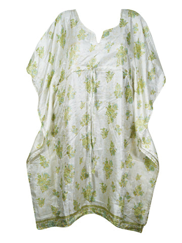 Women Kaftan Dresses, Tunic Caftan, Recycled Sari White Light Green Paisley Caftan, Beach Cover Up Dress, Holiday Gift One Size L-3XL