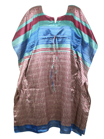 Women Tunic Kaftan Dresses, Beach Cover Up, Caftan Dress, Blue Red Printed Housedress Caftan Dresses L-3XL One Size