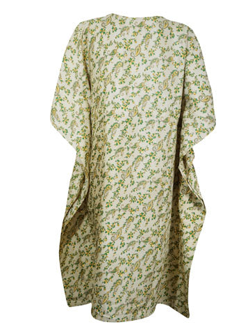 Women Kaftan Dresses, Housedress, Resort Wear, Recycled Gray GReen Floral Printed Beach Cover Up Caftan Dresses L-3XL One Size