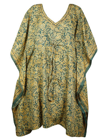 Women Kaftan Dresses, Tunic Caftan, Housedress, Green Yellow Printed Beach Cover Up, Silk Bohemian Caftan Dresses, L-3XL