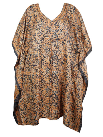 Women Kaftan Dresses, Tunic Caftan, Housedress, Peach Black Floral Printed Beach Cover Up, Pure Silk Caftan Dresses, L-3XL