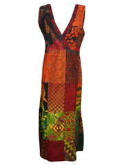 Womens Cotton Patchwork Sleeveless Summer Beach Bohemian Fashion Midi Dress L