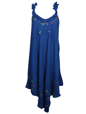 Womens Tank Dress Navy Blue Embroidered Summer Vocational Beach Dresses L